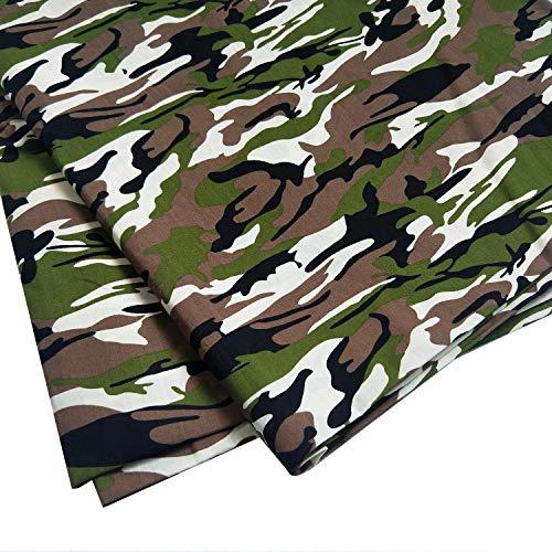 ZAIONE Tela de popelina de polialgodón, 100% polialgodón, estampado de camuflaje, confección de camisas, manualidades, costura, patchwork, manualidades, 150 cm de ancho por metro (verde)