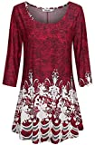 Burgundy and White Floral Dressy Tunics for Women