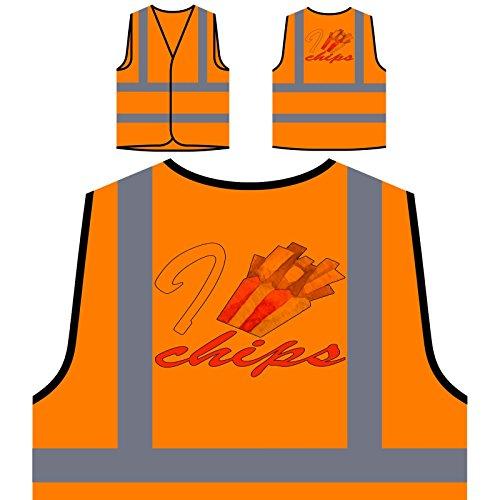 Amo Papas Fritas Chaqueta de seguridad naranja personalizado de alta visibilidad p117vo