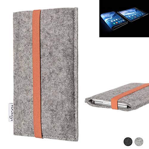 flat.design Handy Hülle Coimbra für Royole FlexPai - Schutz Case Tasche Filz Made in Germany hellgrau orange