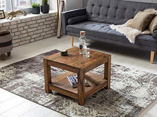 Couchtisch UMBAI Massiv-Holz Sheesham Wohnzimmer-Tisch Design dunkel-braun Landhaus-Stil Beistelltisch Braun Länge: 60 cm Höhe: 45 cm Breite: 60 cm Höhe Zwischenraum: 27 cm Füße: 6 x 6 cm