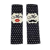 MULOVE - Set di 2 imbottiture per cinture di sicurezza per adulti, per regalo di San Valentino, motivo: barba e labbra con Mr e Mrs