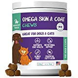 Omega 3 for Dog Treats with Fish oil, with Omega-3 Fatty Acids, 90 Pet Allergy Chews - Soft Omega Bites to Relieve Itch, Allergies, Hot Spots - Premium Skin and Coat Supplements for Dogs and Cats