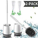 zhajiang Escobillas y soportes para inodoro (2 unidades) diseño moderno mejorado, cerdas de silicona para baño y kit de organizador con guantes de limpieza (blanco-gris, montaje en suelo/pared)