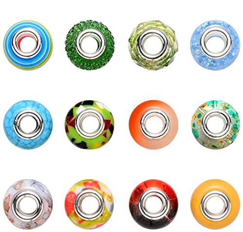 Sadingo Juego de cuentas (90 unidades, 14 mm), orificio grande para hacer pulseras, coloridas cuentas con agujeros grandes en caja