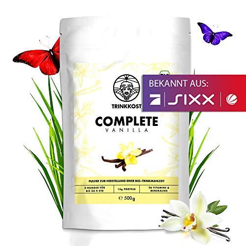 Complete Vanilla I 5 Bio Mahlzeiten als Getränk I Fettarme und sättigende Trinknahrung I Mit 437 kcal pro Portion ideal als Mahlzeitenersatz für Frühstück oder Essen für Zwischendurch I 500 g