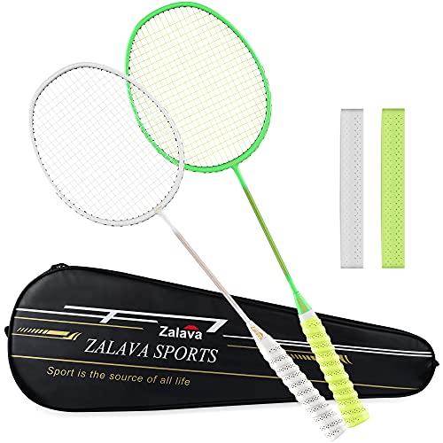 Zalava 2 Pcs Badminton Racquets Badminton Rackets Set with 1 Carring Bag,3 Feather Shuttlecock,2 Overgrip