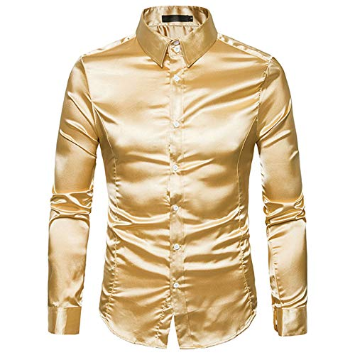 ZSBAYU Men's Shiny Design Long Sleeve Dress Shirts Slim Fit Business Button Down Shirts Fashion Luxury Party Dress Shirt (Yellow,X-Large)