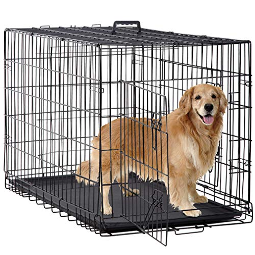 BestPet Large Dog Crate Dog Cage Dog Kennel Metal Wire Double-Door Folding Pet Animal Pet Cage with Plastic Tray and Handle (48')