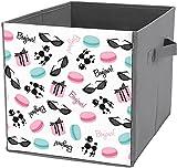 Cajas de almacenamiento para estantes | Caja cuadrada plegable de almacenamiento, organizador duradero, diseño francés