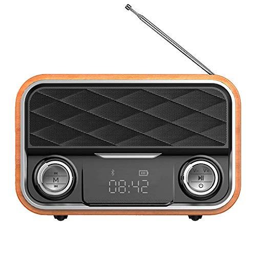 Radio Vintage Altoparlante Bluetooth Retro,Manopola di Regolazione Extra Large,Batteria Ricaricabile da 2000 mAh Potenziata,Supporta TF Card/AUX/USB MP3 Player.