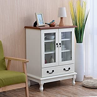 Customer reviews Convenience European Modern Minimalist Solid Wood Wine Cabinet Kitchen Storage Locker Dining Side Cabinet Living Room Glass Wine Cabinet,Size 63 * 40 * 86CM practical ( Color  White ):Qukualian