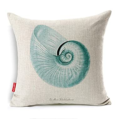 Kingla Home Coastal Theme Blue Conch Shell Throw Pillow Case 18 X 18 Inch Cotton Linen Square Cushion Covers for Sofa