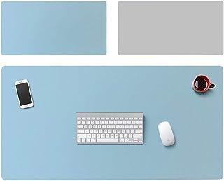 多機能 オフィス 机 パッド、大 延長 ゲーミングマウスパッド 防水 両面 キーボードパッド メモ帳 極薄 2mm (Color : Blue+Gray, Size : 1000x500mm)