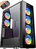 MUSETEX ATX Mid-Tower Case with 6 Pcs RGB Fans - 2 × USB 3.0 Tempered Glass Panels - PC Gaming Case with Remote Control, Decent Cable Management/Airflow (T400-MN6)