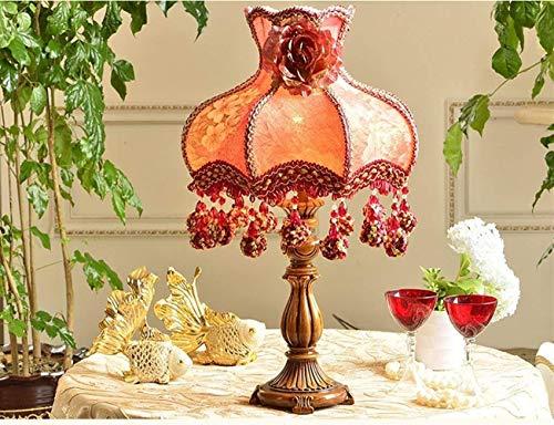 JIAHONG Lámpara de mesa de Lámparas de mesa, personalidad simple de la boda Europea Tabla Luces Estudio creativo retro dormitorio lámpara de cabecera, persiana rojo del jardín luz de la noche de lectu