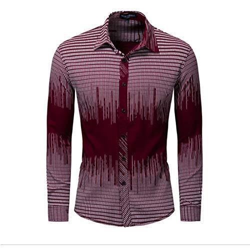 Hombres Camiseta de algodón Estiramiento Camisa de Manga Larga a Rayas, Camisa Casual Resistente al Desgaste y Resistente a Las Manchas,Rojo,XXXL