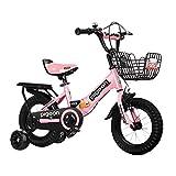ZLI Bicicletas Infantiles Bicicleta Plegable para Niños y Niñas, Bicicleta de Excelente Material de Acero para Camping/Viajes/Hogar, Manillar y Sillín Ajustables (Color : Pink, Size : 18inch)