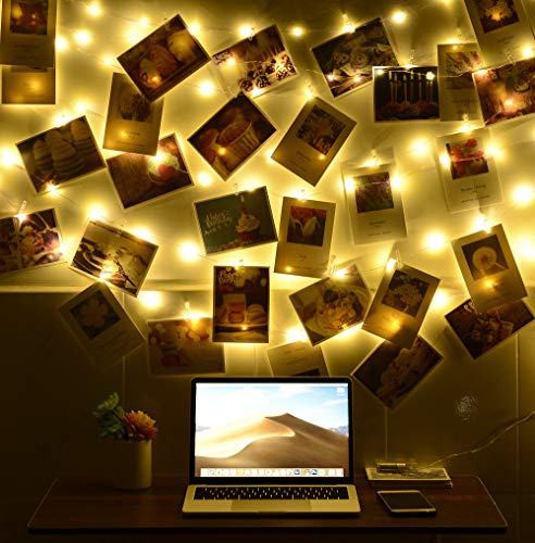 LED Photo Clip String Lights - 33ft - 100 Fairy String Lights with 50 Clear Photo Clips for Hanging Pictures - Waterproof, Battery Powered for Home, Wall D