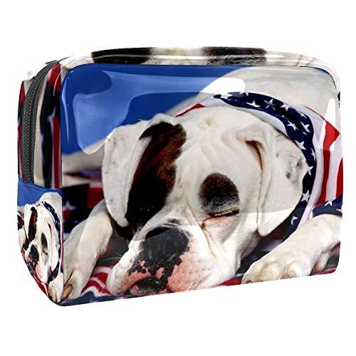 Kleine Make-up Tasche Amerikanische Flagge und Hund für Geldbeutel Reise Make-up Pouch Kosmetiktasche für Frauen Mädchen 18.5x7.5x13cm