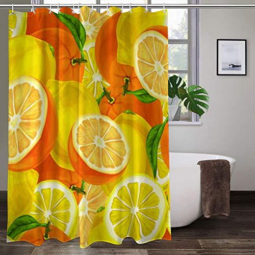 XCBN Cortinas de Ducha Dibujos Animados limón Naranja Impermeable Cortina de baño Tela mampara de baño decoración de bañera Cortinas de Ducha A5 150x180cm