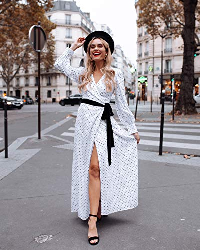 The Drop Women's White Polka Dot Printed Volume-Sleeve Side-Tie Maxi Wrap Dress by @officiallyquigley