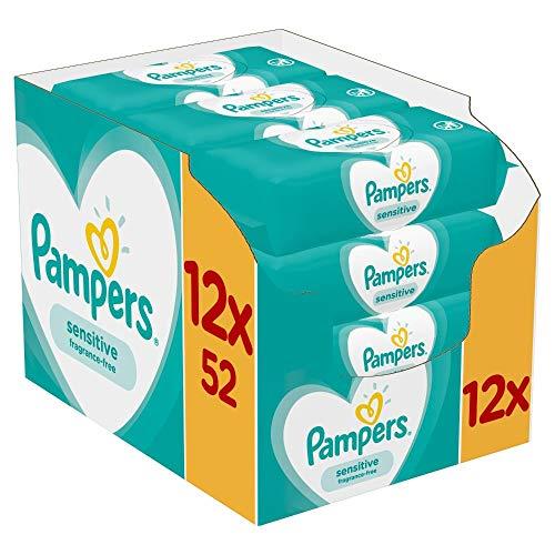 Pampers Baby Feuchttücher Sensitive, Für Empfindliche Babyhaut, Dermatologisch Getestet, 624 Tücher (12 x 52)