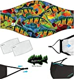 Black Fly Face Masks with Fishing Design +2 Filters! Reusable Fishing Mask, Adjustable Straps, No Fog Nose Wire, Filter Pocket, Face Shield Fishing Gift for Adults & Kids, USA (Peacock Bass Mask)