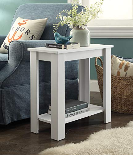 2-Tier White Finish Chair Side End Table with Shelf by RAAMZO