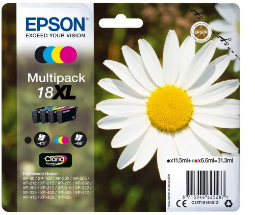 Epson 18XL - Pack de 4 cartuchos de tinta, tricolor y negro, XL válido para los modelos XP-425, XP-422, XP-415, XP-412, XP-325, XP-322, XP-215 y otros, Ya disponible en Amazon Dash Replenishment