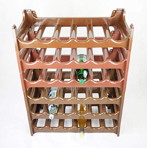 Novaliv Weinregal für 36 Flaschen | braun | aus stabilem Kunststoff | Flaschenregal (Braun, 6)