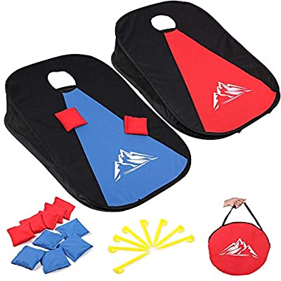 JUOIFIP Collapsible Portable Cornhole Set Cornhole Game Boards with 10 Bean Bags for Kids Adults, Cornhole Set with Storage Bag for Backyard, Lawn, Beach 2-in-1 Camping Game Set 3 x 2-feet by UOIFIP