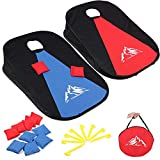 JUOIFIP Collapsible Portable Cornhole Set Cornhole Game Boards with 10 Bean Bags for Kids Adults, Cornhole Set with Storage Bag for Backyard, Lawn, Beach 2-in-1 Camping Game Set 3 x 2-feet