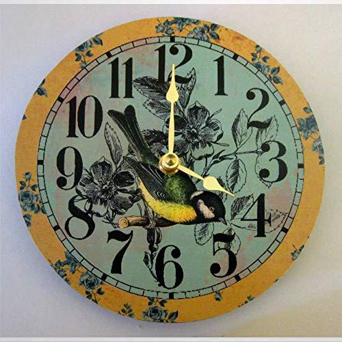 Reloj de pared Shabby Chic Reloj de Pájaro Femenino Reloj Único Reloj de Pared de Madera de 30,4 cm Funciona con Baterías, Decoración de Pared de Granja