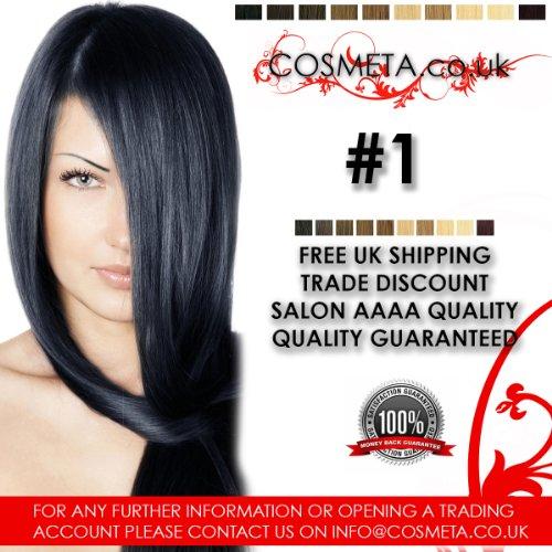 Extensions Cheveux pré-collées cosmeta 25 mèches x 50,8 cm 1 G Salon haute qualité AAAA Kératine U Tip Remy Hair (# 1)