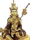 "Hand Carved 9"" Guru Padmasambhava/Guru Rinpoche Copper Gold Gilded Statue"