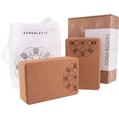 SUPERLETIC® Yoga Block Elite - Yogablock Kork 2er Set I Yogaklotz als Hilfsmittel...