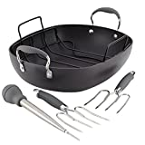 Anolon Advanced Hard Anodized Nonstick Roaster / Roasting Pan Set with Utensils - 16 Inch x 13 Inch, Gray