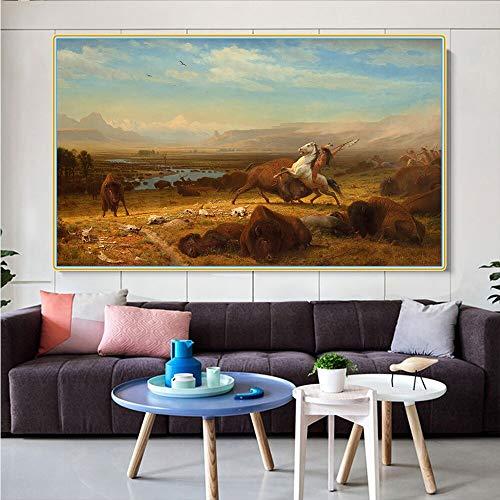 SIRIUSART Albert Bierstadt 《el último del búfalo》 Lienzo Pintura al óleo Obra de Arte Imagen Decoración de la Pared Decoración Moderna de la Sala de Estar del hogar 67x40cm Sin Marco