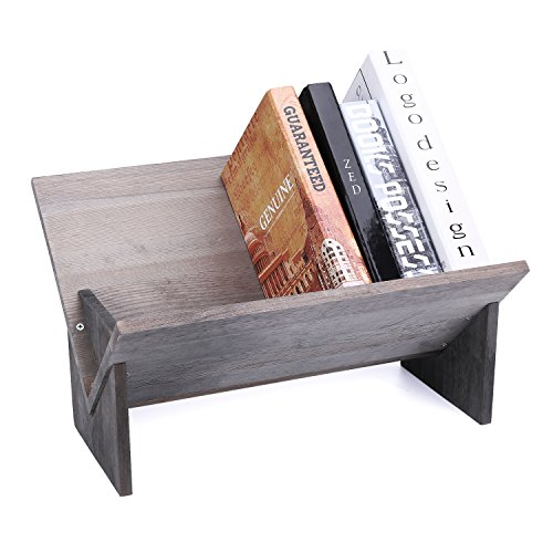 MyGift Rustic Barnwood Gray Tilted Desktop Decorative Storage Organizer Display Bookshelf