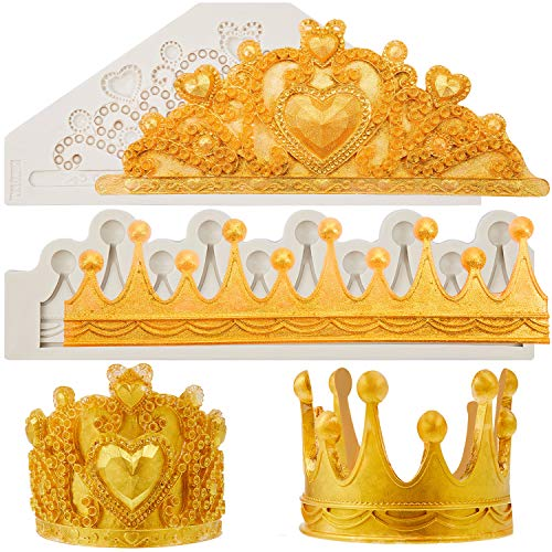 2 Pieces 3D Crown Fondant Mold Crown Cake Topper Mold Silicone Crown Heart Mold Chocolate Mold for DIY Baking Cake Candy Wedding Cake Decoration Sugar Craft Polymer Clay Mold