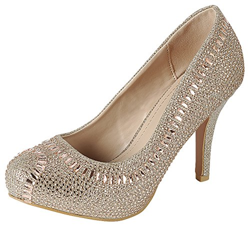 Cambridge Select Women's Closed Almond Toe Glitter Crystal Rhinestone Stiletto High Heel Dress Pump (10 B(M) US, Champagne)