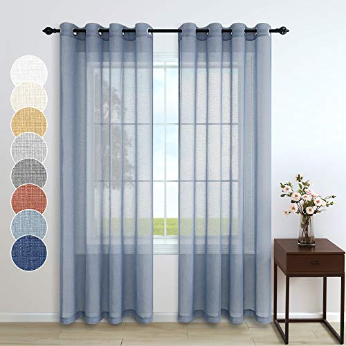 Dusty Blue Curtains 84 Inch Length for Living Room Decor 2 Panels Grommet Linen Look Translucent Country Blue Semi Sheer Curtains for Bedroom Dining Room Bay Window Accents 52x84 Long Grey Gray Blue