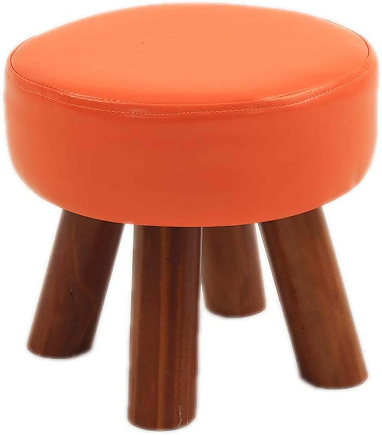 Footstool Change shoes Bench Round Wooden Legs Foot Stools Comfortable Seat Scrubbable Upholstered Seating Chair Home Multi-Function LEBAO (color   orange)