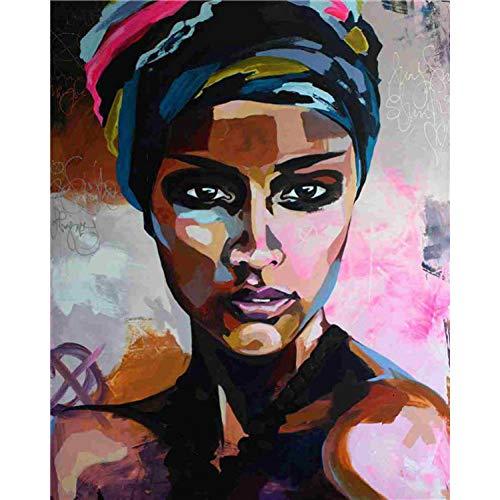 GEDASHU Malen nach Zahlen Ölgemälde nach Zahlen Afrikanische Frauen Gemälde DIY Portrait Malen nach Zahlen Leinwand Mal-Kits 40X50Cm No Frame