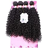 Frelyn Kinky Curly Bundles Synthetic Hair Weave Extensions 2# Dark Brown 18 18 20 20 Inches 4 PCS, Heat Resistant Fiber Soft and Natural as Human Hair