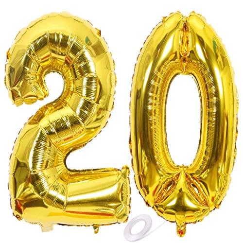 SNOWZAN Luftballon 20. Geburtstag Gold Mädchen Junge Zahl 20 Riesen Folienballon Helium Nummer 20 Luftballon Große Zahlen 20 Jahre XXL 20. Happy Birthday 32 Zoll Riese Zahl 20Geburtstag für Party
