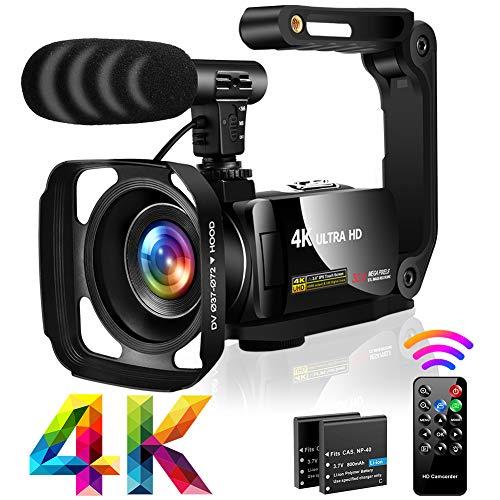 Videocámara 4K Cámara de Video UHD 30MP 18X Zoom Cámara Digital con Luz De Relleno LED, 3.0 Pulgadas Pantalla Táctil Giratoria Vlogging Cámara para YouTube con Micrófono, Parasol,Estabilizador de mano