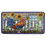 TropicalLife CFAUIRY Kitchen Rug Mat Rooster Sunflower Painting 39x20 Inch Non-Slip Washable Waterproof Welcome Door Mats for Home Decor
