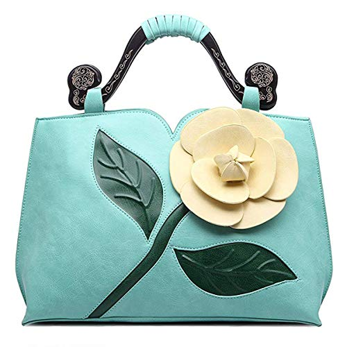 Satchel Handbags for Women PU Leather Tote 3D Rose Flower with Wooden Handle Shoulder Bags Light Green by Ruiatoo